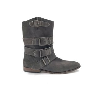 Free People Gray Leather Sunbelt Buckle Boots